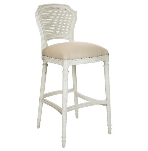 Camilla French Country Milk White Linen Barstool - Set of 2 | Kathy Kuo Home