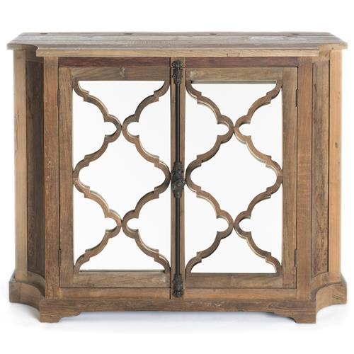 Wayside Wood Small Cabinet with Glass Paneled Door | Kathy Kuo Home
