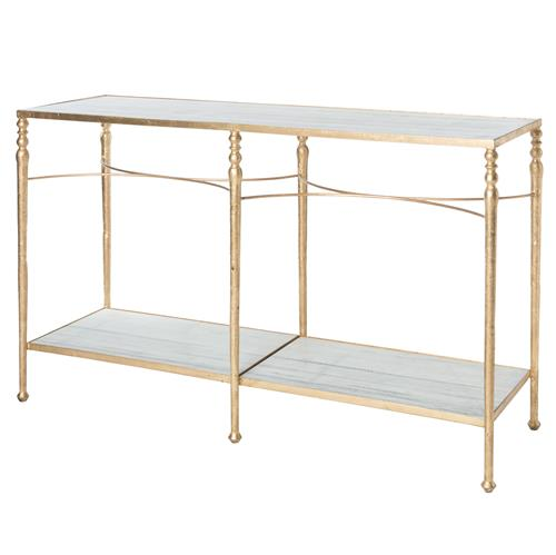 Grauman Hollywood Regency Classic Gold Marble Console Table | Kathy Kuo Home