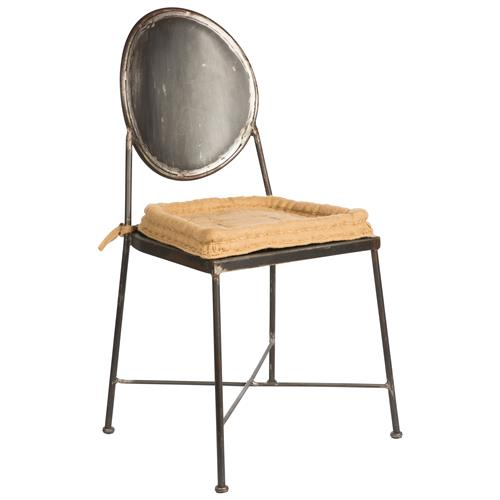 Schoolhouse Industrial Loft Steel Burlap Seat Dining Chair | Kathy Kuo Home