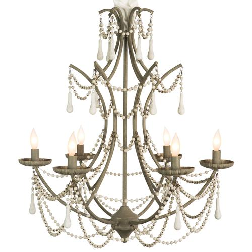 Bourdeilles French Country White Beaded Rustic Chic Chandelier | Kathy Kuo Home