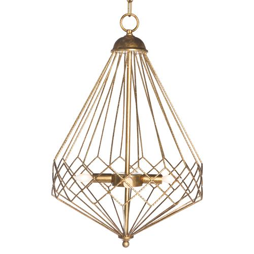 Open Gold Teardrop Industrial Loft Cage Pendant | Kathy Kuo Home
