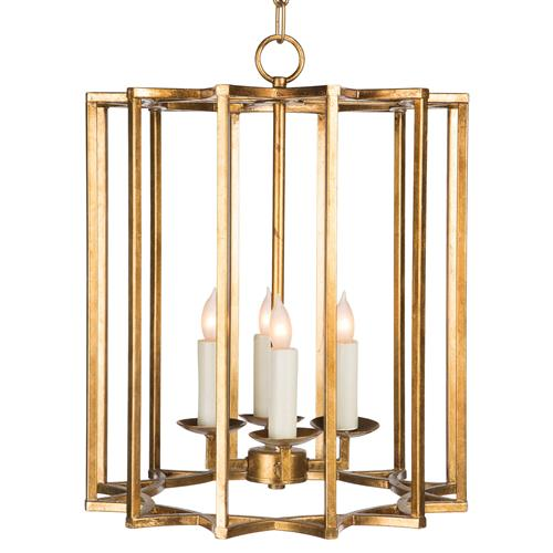 Starlight Hollywood Regency Gold Vertical Star Cage Pendant | Kathy Kuo Home