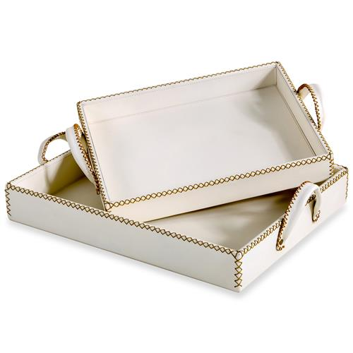 Timothy Rustic Lodge Cream Leather Trays - Set of 2 | Kathy Kuo Home