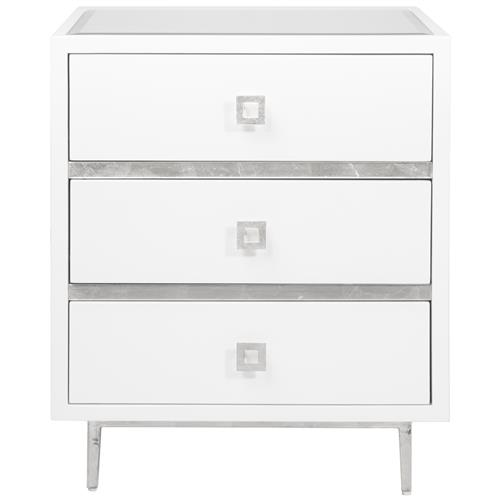 Bartok Hollywood Regency White Lacquer Silver Leaf Nightstand | Kathy Kuo Home