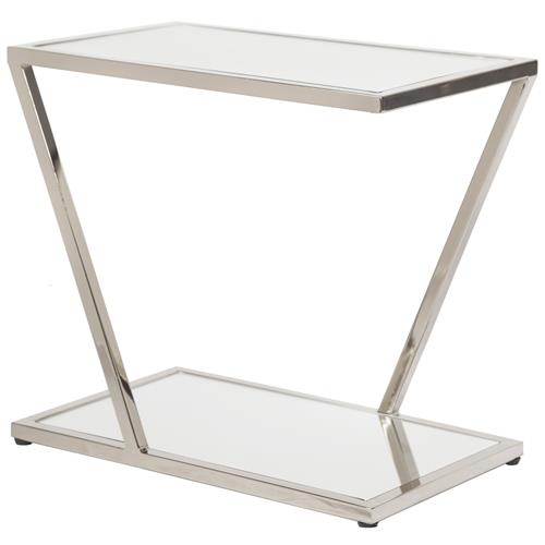 Lola Hollywood Regency Mirrored Top Nickel Side Table | Kathy Kuo Home