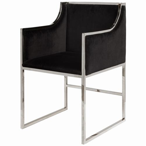 Anastasia Hollywood Regency Black Velvet Nickel Frame Dining Chair | Kathy Kuo Home