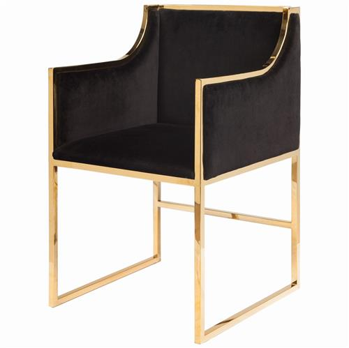 Anastasia Hollywood Regency Black Velvet Brass Frame Dining Chair | Kathy Kuo Home