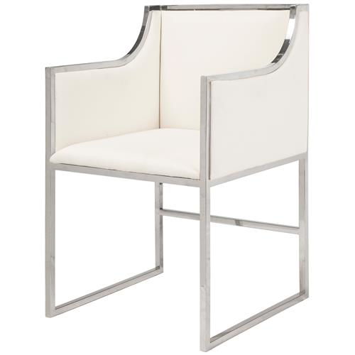 Anastasia Hollywood Regency White Linen Nickel Frame Dining Chair | Kathy Kuo Home
