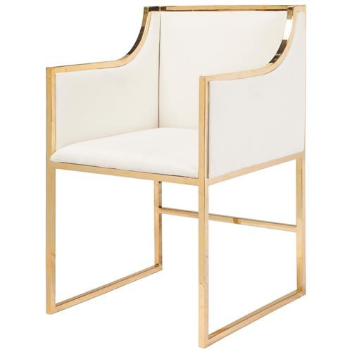 Anastasia Hollywood Regency White Linen Brass Frame Dining Chair | Kathy Kuo Home