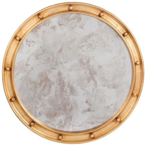 Jack Hollywood Regency Large Round Antique Gold Leaf Mirror - 36D | Kathy Kuo Home