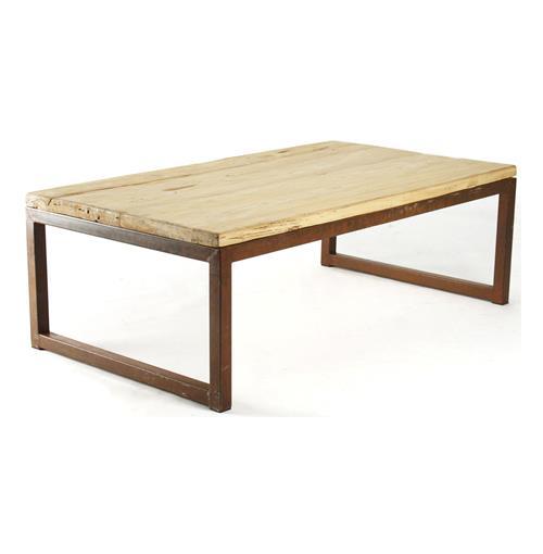 Modern Rustic Reclaimed Elm Wood Rectangle Coffee Table