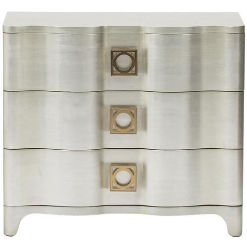 Oriana Modern Classic Antique Silver Leaf 3 Drawer Nightstand | Kathy Kuo Home