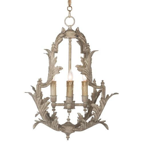 Clarisse French Country Rustic White Chandelier - 23 Inch | Kathy Kuo Home
