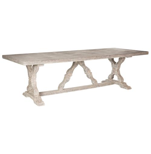 Ronald French Country Indoor Distressed Grey Dining Table | Kathy Kuo Home