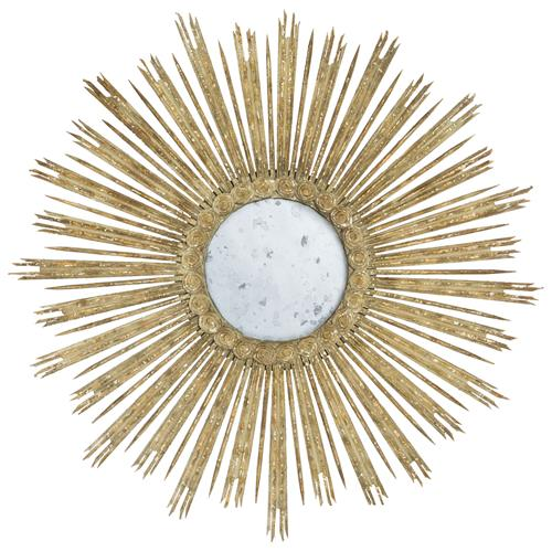 Gisele Hollywood Regency Aged Grey Gold Leaf Sunburst Mirror | Kathy Kuo Home