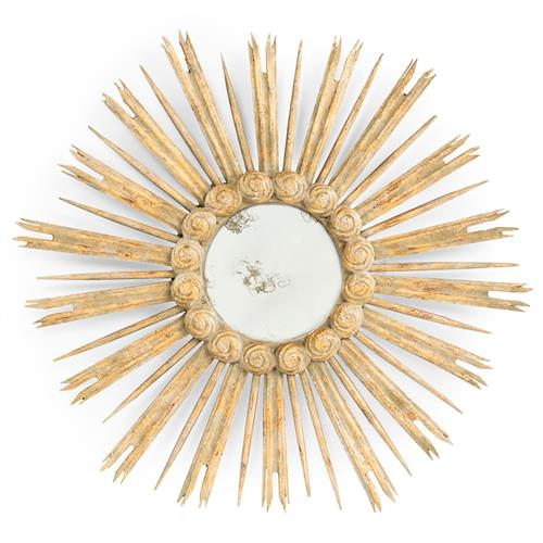 Gisele Hollywood Regency Antique Gold Leaf Sunburst Mirror | Kathy Kuo Home