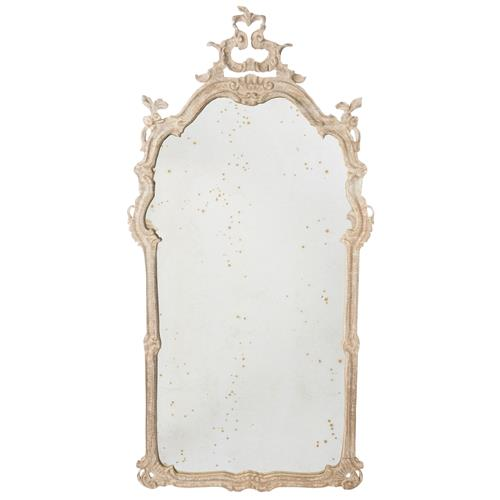 Aimee French Country Bleached Wood Antiqued Wall Mirror | Kathy Kuo Home