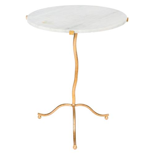 Elsa Hollywood Regency Gold White Marble End Table | Kathy Kuo Home