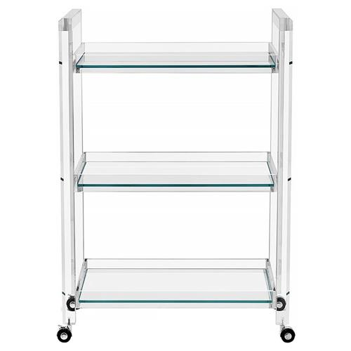 Interlude Ava Modern Acrylic and Glass Serving Bar Cart | Kathy Kuo Home