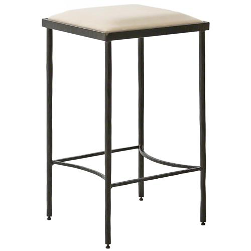 Ivan Industrial Loft Muslin Upholstered Iron Counter Stool | Kathy Kuo Home