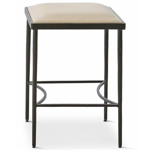 Ivan Industrial Loft Muslin Upholstered Iron Dining Stool | Kathy Kuo Home