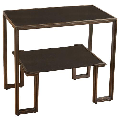 Morenci Industrial Loft Bronze Black Granite Side Table Nightstand | Kathy Kuo Home