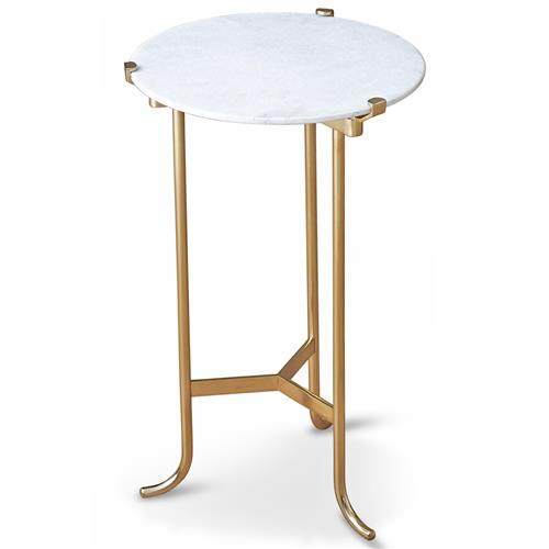 Pavlova Hollywood Regency Brass White Marble Side Table - 12 Inch | Kathy Kuo Home