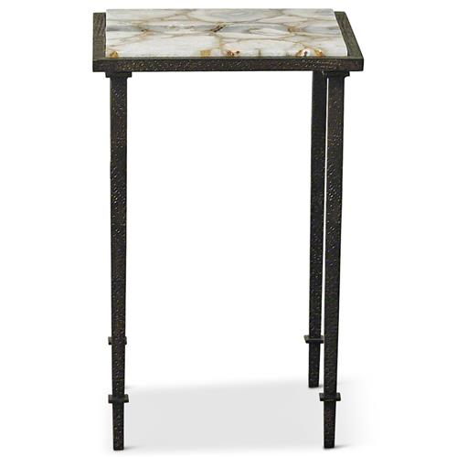 Vesuvio Modern Classic Agate Stone Iron Square Side End Table | Kathy Kuo Home