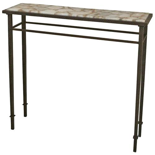 Vesuvio Global Bazaar Agate Stone Iron Console Table - 39.75 Inch | Kathy Kuo Home
