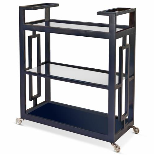 Pierce Modern Classic Ink Blue Lacquer Glass 3 Tier Serving Bar Cart | Kathy Kuo Home
