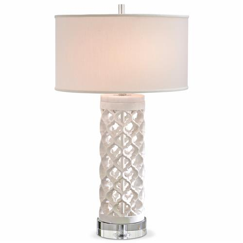 Mamounia Global Bazaar White Marble Crystal Fretwork Round Table Lamp | Kathy Kuo Home