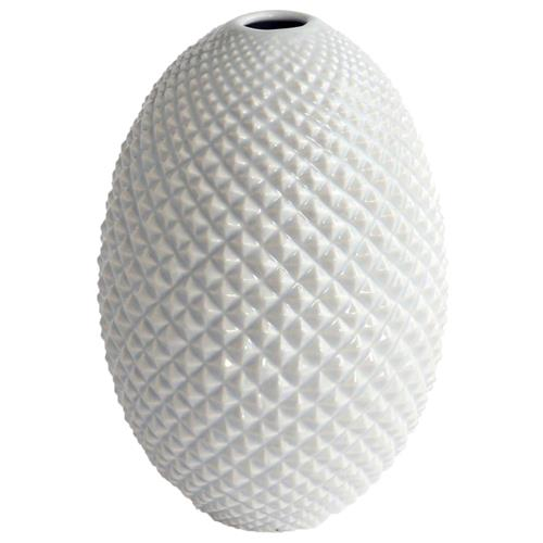 Salvo Coastal Beach Diamond Cut Modern White Bud Egg Vase | Kathy Kuo Home