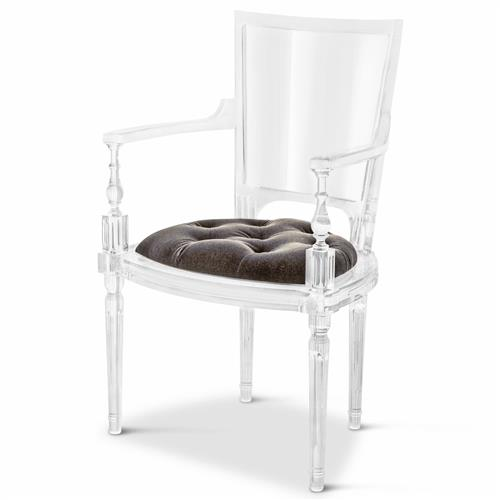 Henderson Hollywood Regency Italian Acrylic Grey Mohair Dining Armchair | Kathy Kuo Home