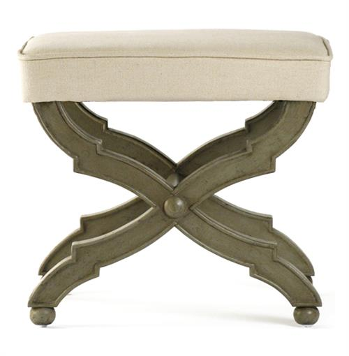 French Country Distressed Olive Wood Ottoman | Kathy Kuo Home