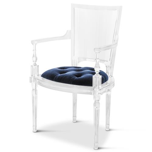 Henderson Hollywood Regency Italian Acrylic Blue Mohair Dining Armchair | Kathy Kuo Home