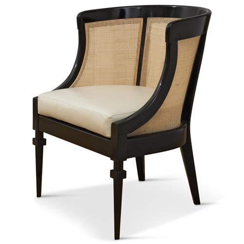 Heaton Hollywood Regency Black Wood Cane Leather Side Chair | Kathy Kuo Home