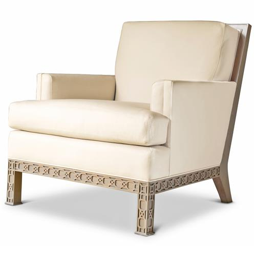 Octavia Hollywood Regency Ivory Leather Scroll Pattern Armchair | Kathy Kuo Home