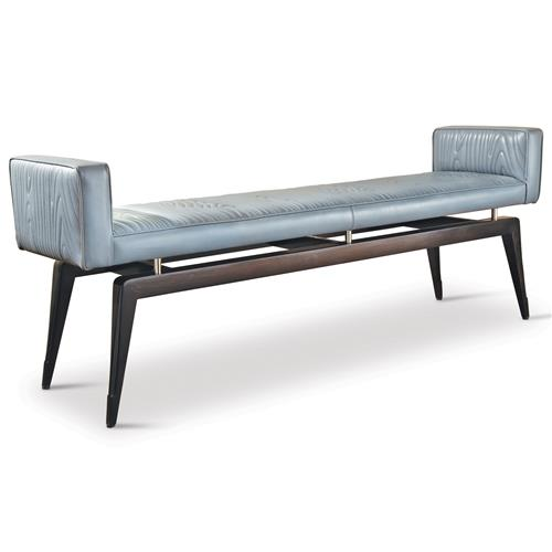 Calista Mid Century Art Deco Wood Pattern Grey Leather Bench | Kathy Kuo Home
