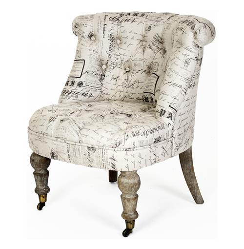 Amelie French Country Grey Literary Script Tufted Accent Chair | Kathy Kuo Home