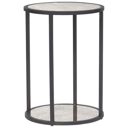 Frankie Industrial Loft Blackened Iron Round Side End Table | Kathy Kuo Home