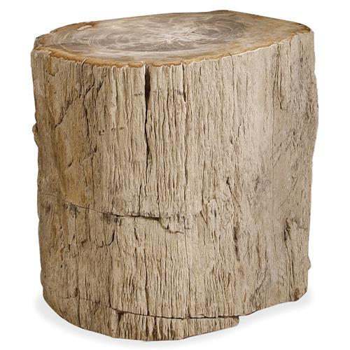 Inez Industrial Loft Petrified Wood Side End Table | Kathy Kuo Home
