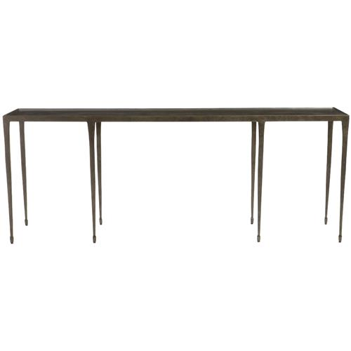 Wes Industrial Loft Blackened Hammered Cast Iron Console Table | Kathy Kuo Home