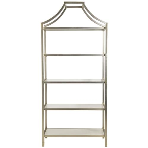 Amelia Hollywood Regency Satin Champagne Stainless Steel Etagere | Kathy Kuo Home