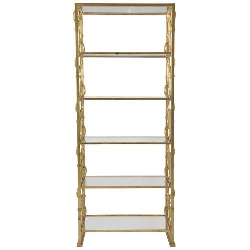 Jessica Hollywood Regency Gold Painted Steel and Glass Etagere | Kathy Kuo Home