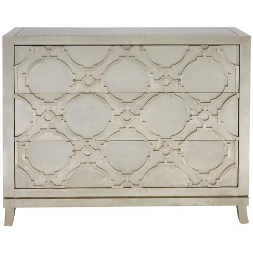 Bennett Hollywood Regency Silver Nickel Wood 3 Drawer Dresser | Kathy Kuo Home