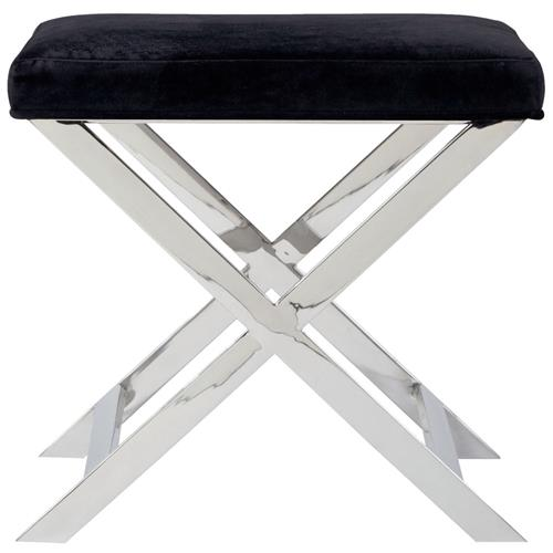 Alexander Hollywood Regency Steel Black Charcoal Velvet Steel Stool | Kathy Kuo Home