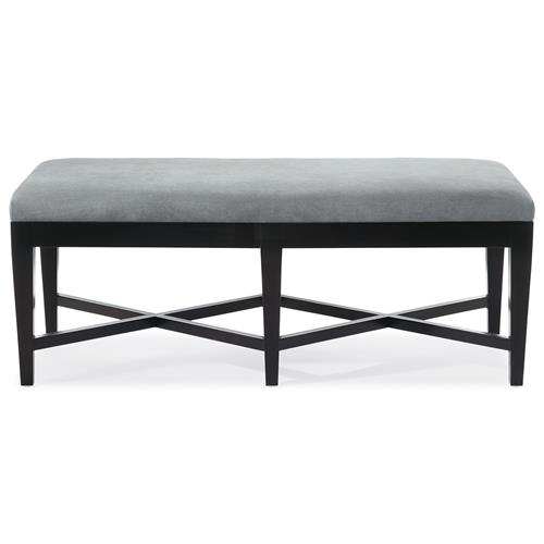 August Modern Classic Double X Light Grey Fabric Wood Bench | Kathy Kuo Home