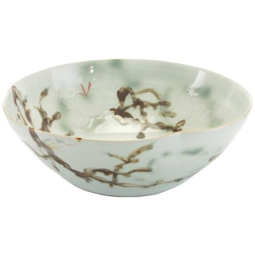 Juliana Modern Classic Green Yellow Glazed Porcelain Bowl - 16 Inch | Kathy Kuo Home