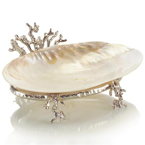 John-Richard Rockaway Coastal Beach Polished Silver Coral Kabibi Shell Bowl | Kathy Kuo Home